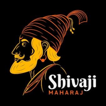 Shivaji maharaj illustratie gele schaduwen silhouet
