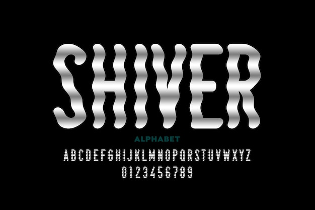 Shiver-stijl lettertype-ontwerp, alfabetletters en cijfers