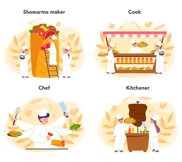 Shoarma straatvoedsel concept set. chef-kok koken heerlijk broodje met vlees, salade en tomaat. kebab fastfoodcafé.
