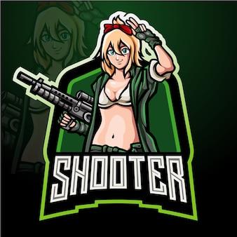 Shooter meisjes mascotte esport logo ontwerp