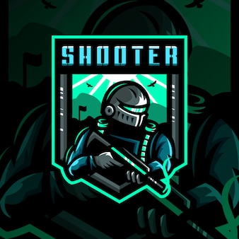 Shooter soldaat mascotte logo afbeelding esport gaming