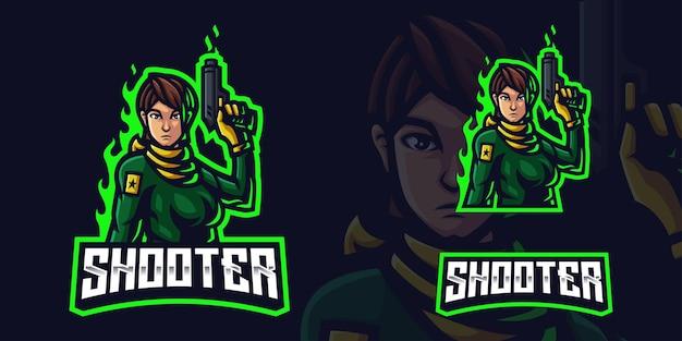 Shooter woman holding gun mascot gaming logo template voor esports streamer facebook youtube
