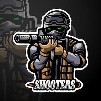 Shooters mascotte met esport-logo