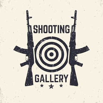 Shooting gallery grunge logo, embleem met assault rifle, illustratie