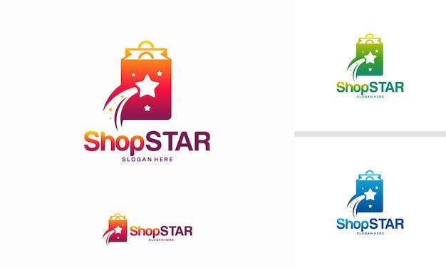 Shop star-logo ontwerpen concept, shopping cart logo ontwerp sjabloon vector