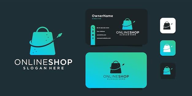 Shop tas en raket logo-ontwerp met sjabloon voor visitekaartjes.