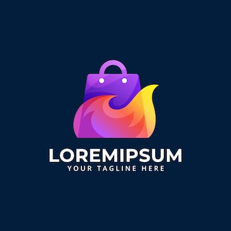 Shop tas met vuurvlam illustratie logo