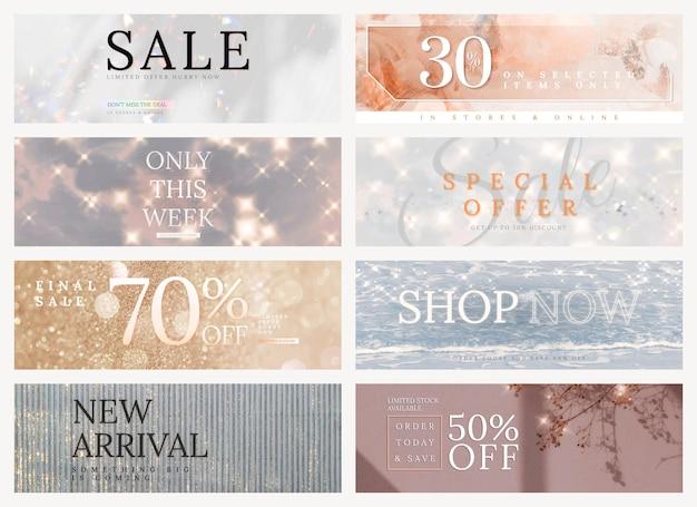 Shop verkoop bewerkbare sjabloon vector glitter set voor social media advertenties