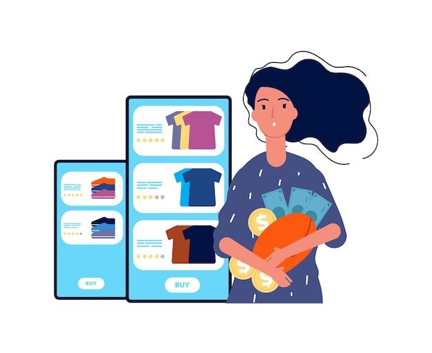 Shopaholic. meisje en online winkelen. vrouw met portemonnee met geld. cartoon platte illustratie