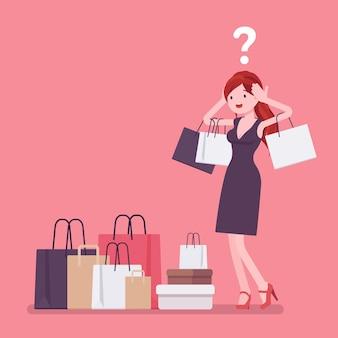 Shopaholische vrouw die te veel koopt