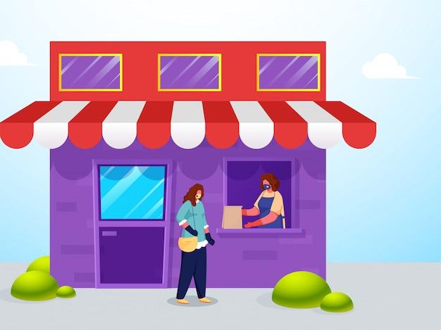 Shopper vrouw papieren zak aan klant geven vanuit raam met behoud van sociale afstand tijdens coronavirus.