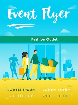 Shoppers lopen langs fashion outlet window flyer-sjabloon
