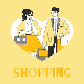 Shopping flyer sjabloon. man en vrouwen dragende het winkelen pakketten schetsen beeldverhaalillustratie.