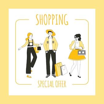 Shopping flyer sjabloon. speciale aanbieding, seizoensgebonden verkoop banner concept.