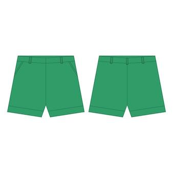 Shorts broek in groene kleuren voor meisjes geïsoleerd. technische schets kinderkleding.