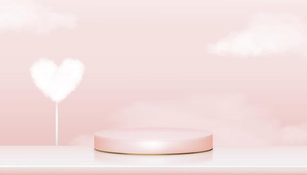 Showcase-display met parel en hartwolk in roze pastel en geelgouden standaard, realistisch podium op roze hemelachtergrond, showcase voor cosmetisch of schoonheidsproduct