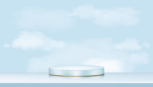 Showcase-display met witte pluizige wolken in blauwe pastel en geelgouden standaard, realistisch luxe podium op blauwe hemelachtergrond, showcase voor cosmetica of schoonheidsproducten