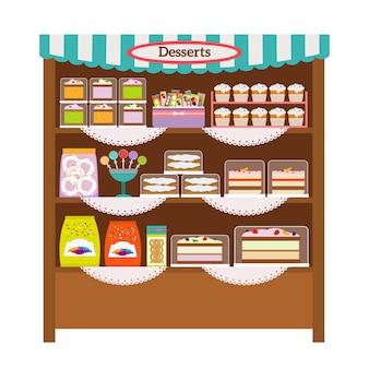 Showcase met desserts