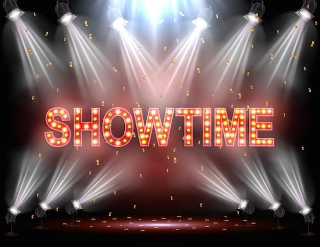 Showtime-achtergrond verlicht door schijnwerpers