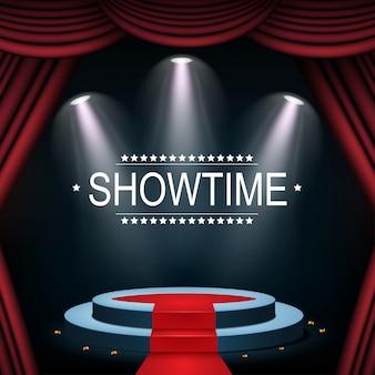 Showtime banner met podium en gordijn verlicht door schijnwerpers