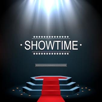 Showtime banner met podium en rode loper verlicht door schijnwerpers