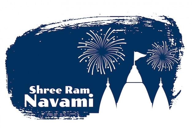 Shree ram navami-feestkaart met tempelontwerp
