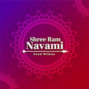 Shree ram navami hindoe festival decoratieve wenskaart met pijl