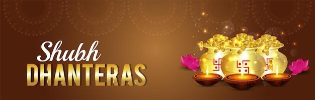 Shubh dhanteras indian festival viering banner met gouden munt pot