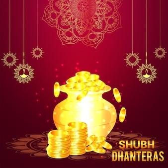 Shubh dhanteras viering wenskaart met gouden munt pot