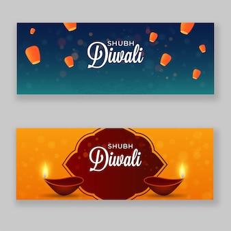 Shubh diwali header of banner design met brandende olielampen (diya)