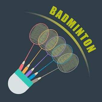 Shuttle voor badminton van vogelveren met donkere achtergrond.