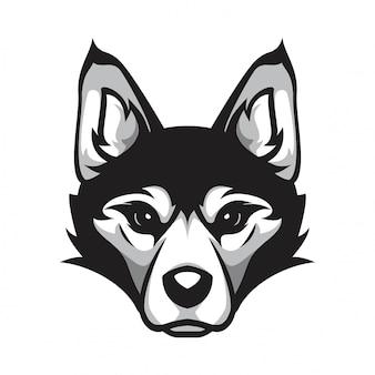 Siberische husky hoofd hond