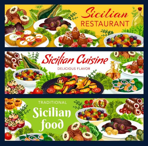 Siciliaanse maaltijden illustratie ontwerp