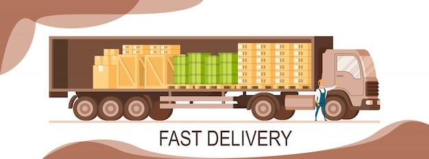 Side veiw van open express delivery truck banner