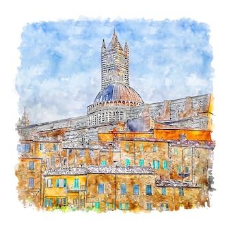 Siena italië aquarel schets hand getrokken