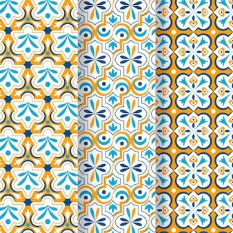 Sier arabische patrooninzameling Gratis Vector
