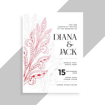 Sier bloemen decoratieve bruiloft kaart sjabloonontwerp