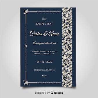 Sier bruiloft kaartsjabloon