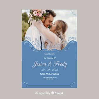 Sier bruiloft uitnodiging sjabloon