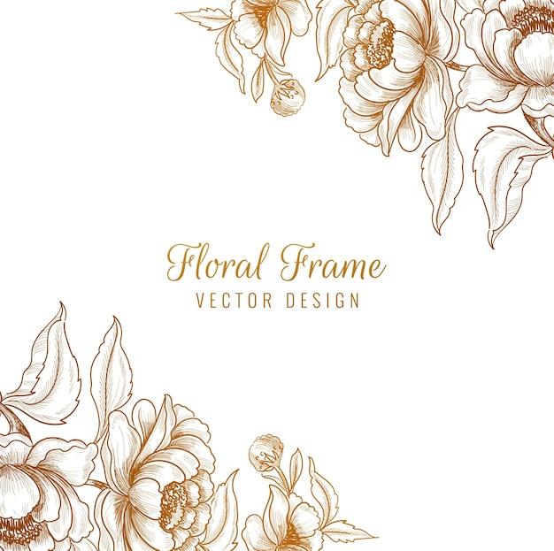 Sier decoratieve bloemen frame achtergrond Gratis Vector