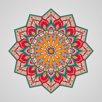 Sier kleurrijk mandalaontwerp op witte achtergrond