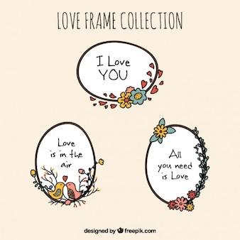 Sier liefde frames met bloemen details