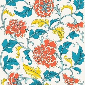 Sier mooie heldere kleur antiek bloemmotief met pioenrozen