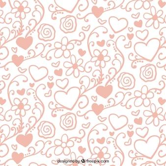 Sier patroon van harten en bloemen