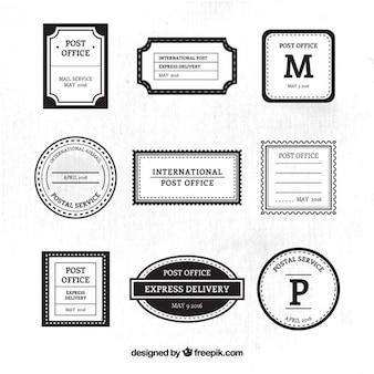 Sier postdienst zwart en wit stempels