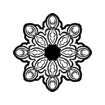 Sier rond patroon met bloemenelementen voor slim modern kleurboek voor volwassenen, shirtontwerp of tatoeage. handgetekende zen doodle achtergrond