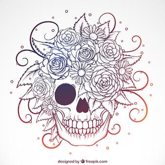 Sier schedel met de hand getekende bloemen
