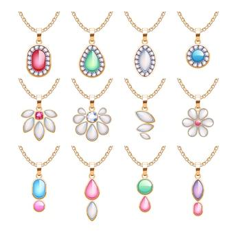 Sieraden hangers set. gouden kettingen met edelstenen. kostbare kettingen met diamanten, parels, robijnen. illustratie. goed voor juwelierszaak.