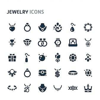 Sieraden icon set. fillio black icon-serie.