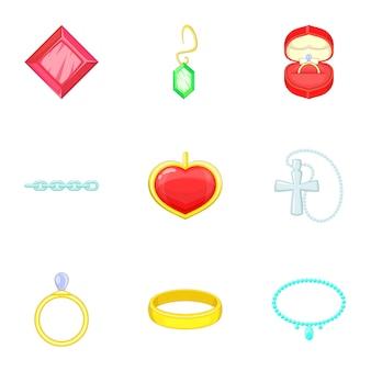 Sieraden iconen set, cartoon stijl